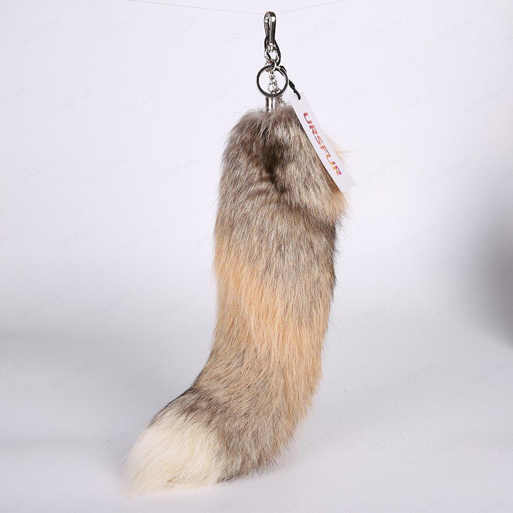 URSFUR Golden Island Fox Tail Fur Cosplay Keychain Hook Purse Bag Charm Pendant