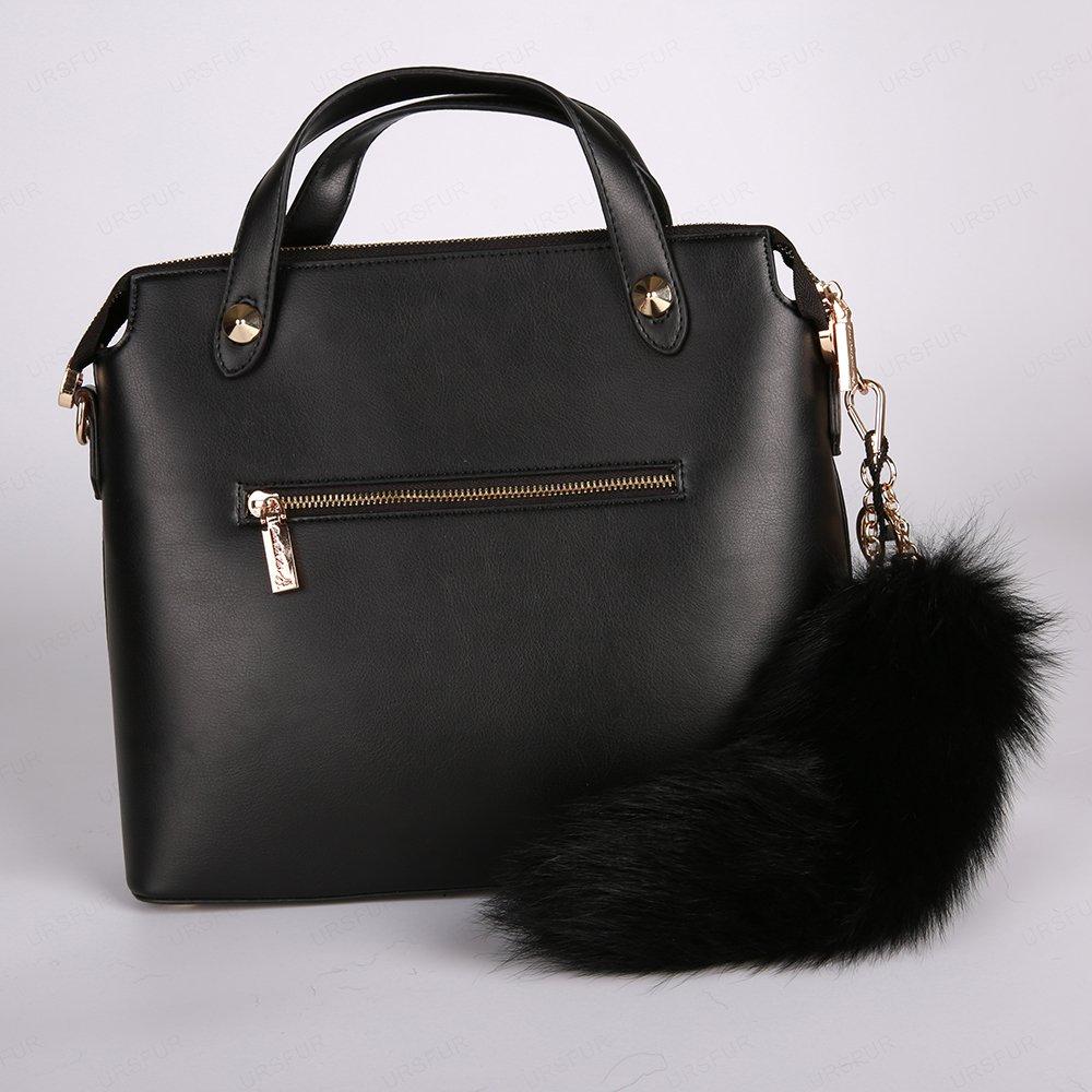 URSFUR Fur Tail Keychain Handbag Tassel Bag Charm Pendant Key Ring