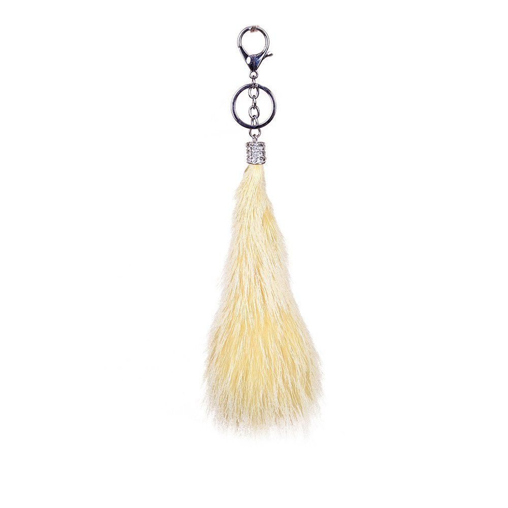 URSFUR Fluffy TailKeychain Cell Phone Bag Charm Pendant Car Hanging Key Chain Ring Hook Toy Gift