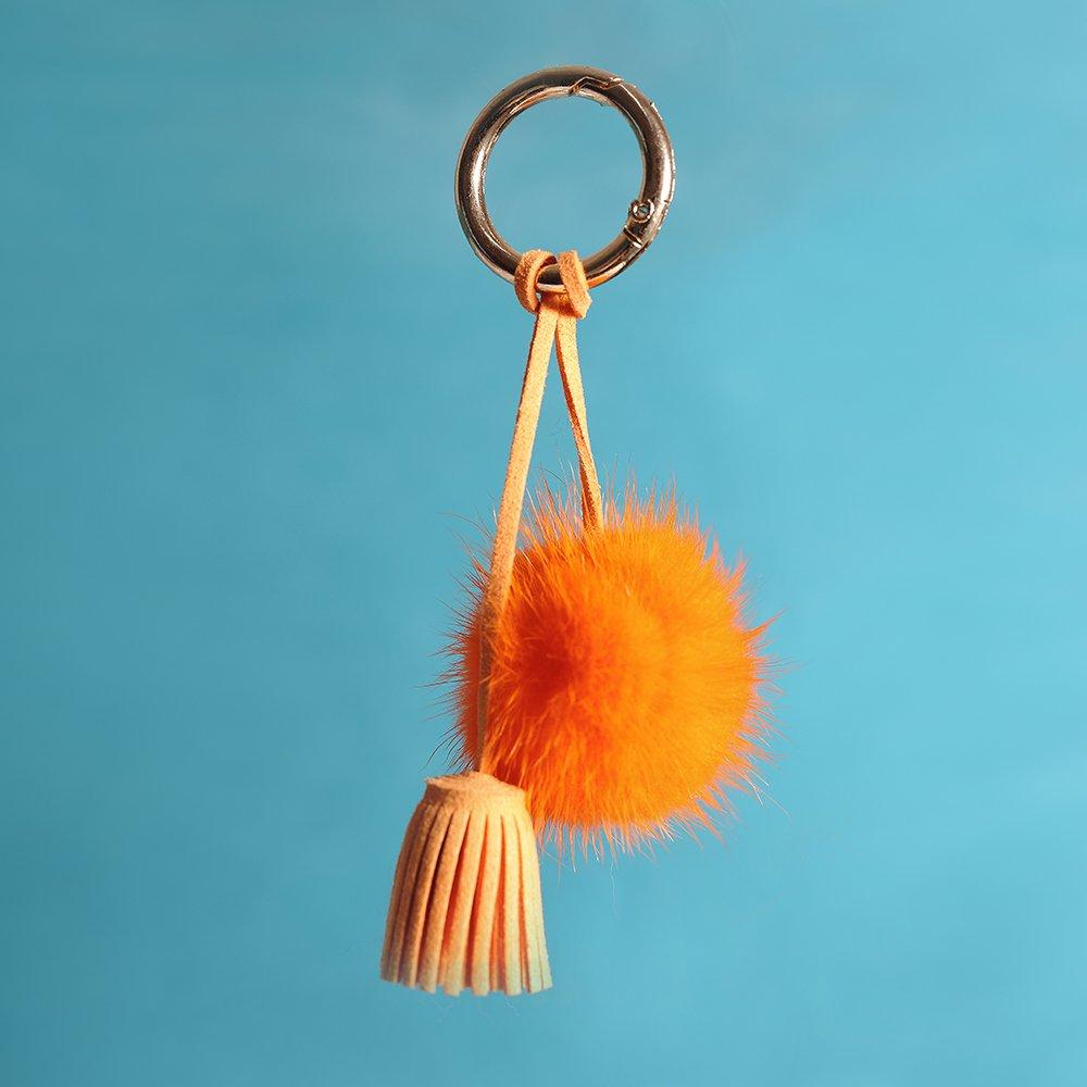 URSFUR Ball Pom Keychain Car Bag Charm Pendant Tassel Keyring Key Chain Orange