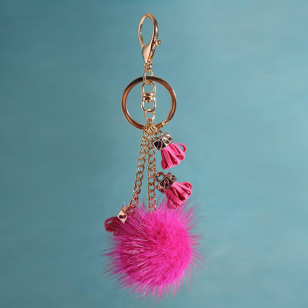URSFUR Ball Pom Keychain Car Bag Charm Pendant Tassel Key Chain Keyring Rose red