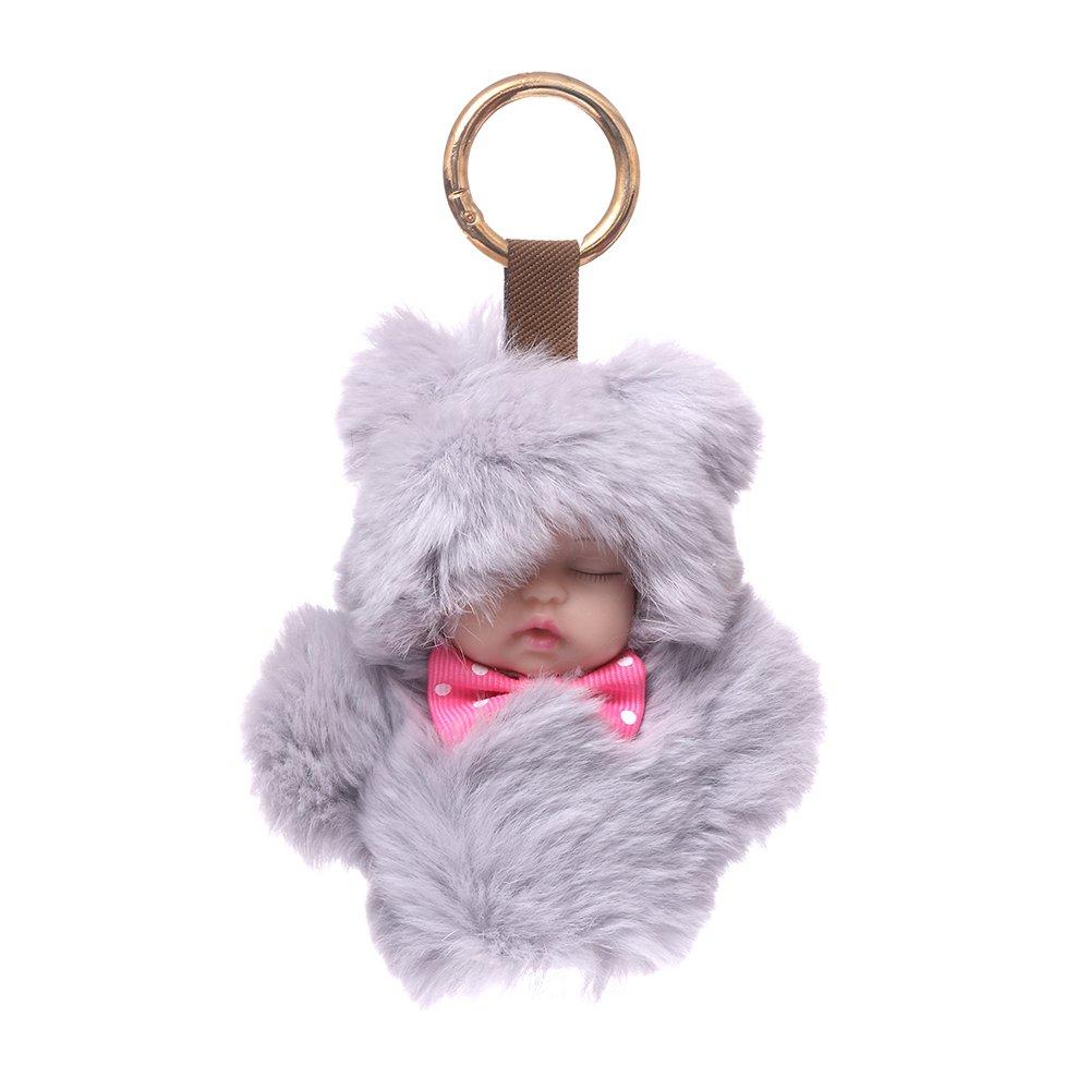 URSFUR Baby Doll Purse Pendant Fur Keychain Plush Toy Bag Charm Key Ring - gray