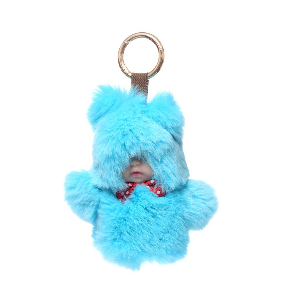 URSFUR Baby Doll Purse Pendant Fur Keychain Plush Toy Bag Charm Key Ring - Azure
