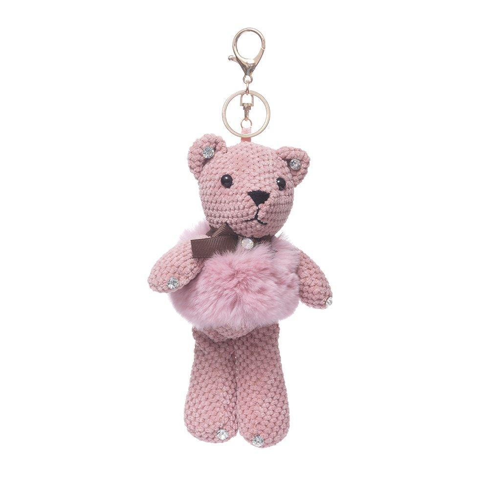 URSFUR Fur Keychain Doll Bear Key Chain Bag Charm Pendant Monster Keyring - purple
