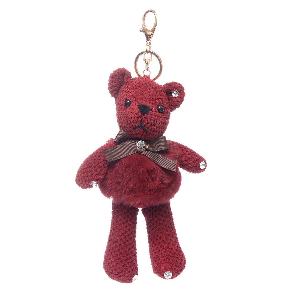 URSFUR Fur Keychain Doll Bear Key Chain Bag Charm Pendant Monster Keyring - Burgundy
