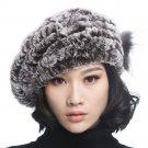 URSFUR Winter Women's Rex Beret Hats with Fur Flower (Grey)