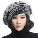 URSFUR Winter Women's Rex Beret Hats with Fur Flower (Coffee)