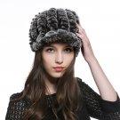 URSFUR Women's Rex Rabbit Fur Peaked Caps Hats Multicolor (Coffee)