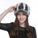 URSFUR Women's Rex Rabbit Fur Peaked Caps Hats Multicolor (Coffee & White)
