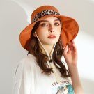 URSFUR Summer Sun Hat,Wide Brim UPF50+ Beach Hat with Leopard Ribbon Bow UV Protect Casual Hat