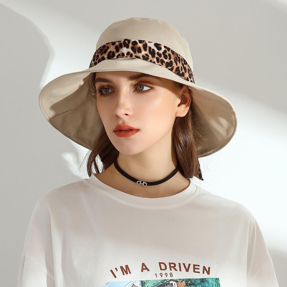 URSFUR Women Bucket Hat Summer UPF50+ Beach Hat 100% Cotton Sun Protection Wide Brim Cap