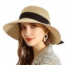 URSFUR Summer Sun Bucket Straw Hats Floppy Belt- Wide Brim Beach Hat UPF 50+ Sun protection Cap