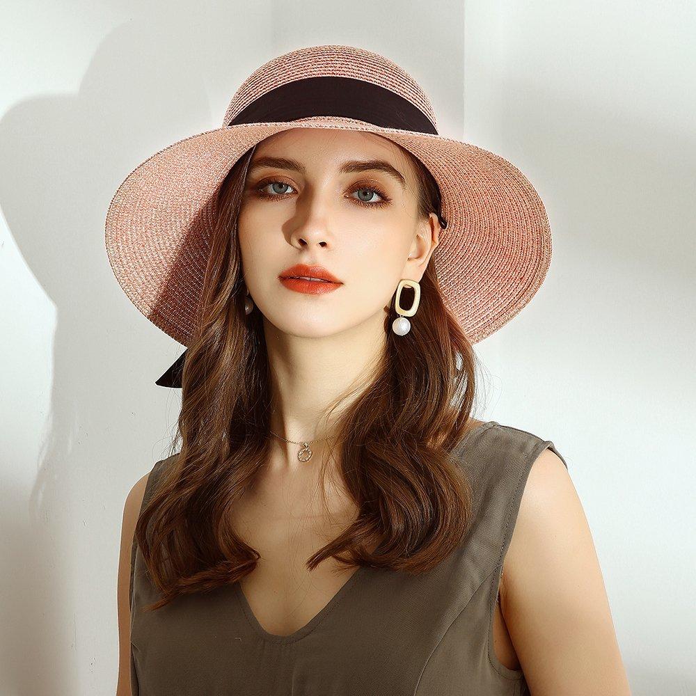 URSFUR Summer Sun Bucket Straw Hats Floppy Belt- Wide Brim Beach Hat UPF 50+ Sun protection Cap