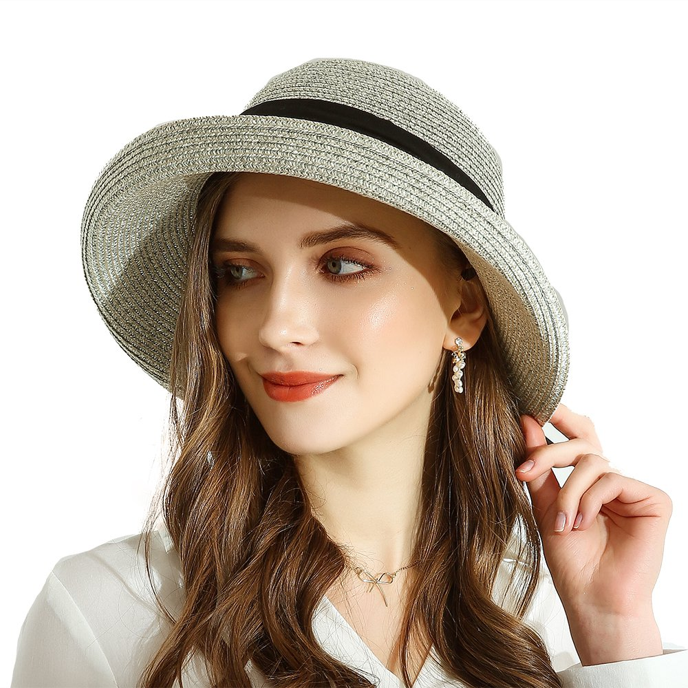 URSFUR Women Sun Bucket Straw Roll up Hat,UPF 50+ Sun Protection Wide Brim Beach Panama Hat Storage