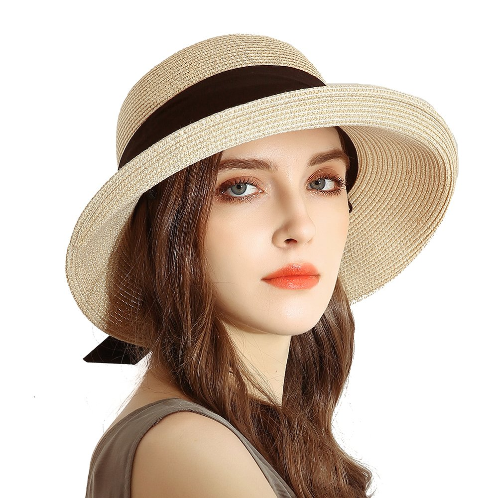 URSFUR Womens Sun Bucket Straw Roll up Hat,UPF 50+ Sun Protection Wide Brim Beach Panama Hat Storage