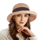 URSFUR Women Sun Bucket Straw Roll up Hat,UPF 50+ Sun Protection Wide Brim Beach Panama Hat Storage
