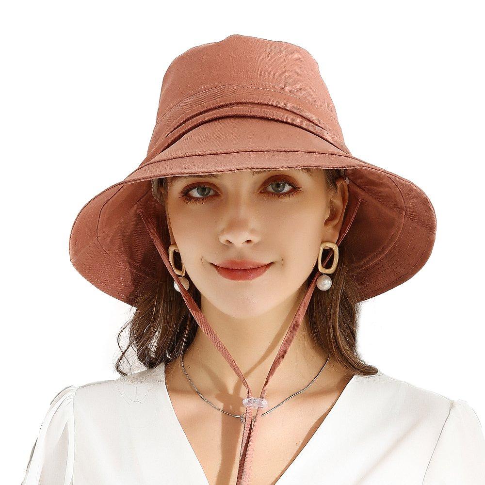 URSFUR Women Summer Sun Large Brim Hats Foldable Beach Hat Cotton UPF 50+ Sun protection Cap