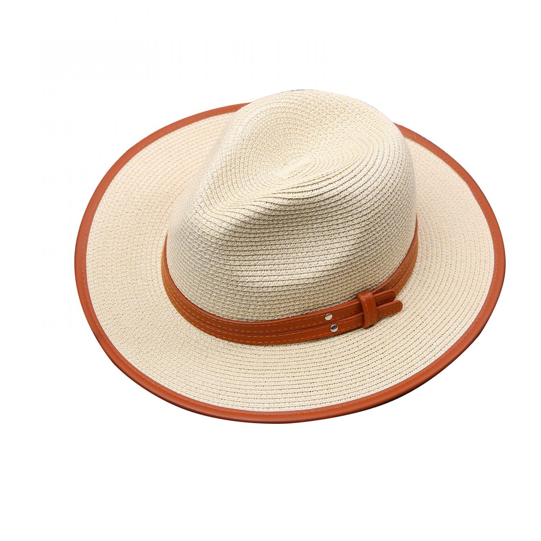URSFUR Women Sun Hats for Summer Wide Brim Straw Panama Beach Cap UV Protection Packable Beige