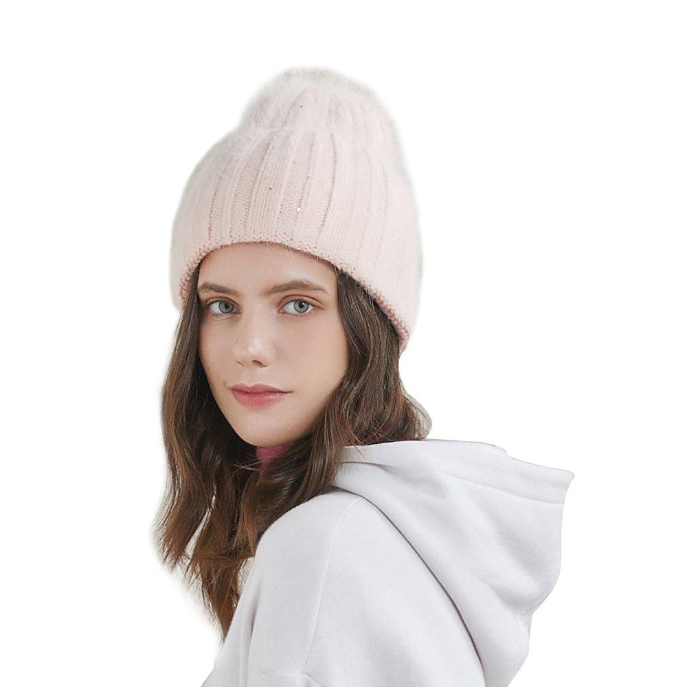 URSFUR Women's Winter Knit Hat Warm Wide Sleeve Beanies Vertical Lines Elastic Cap, Candy Light Pink
