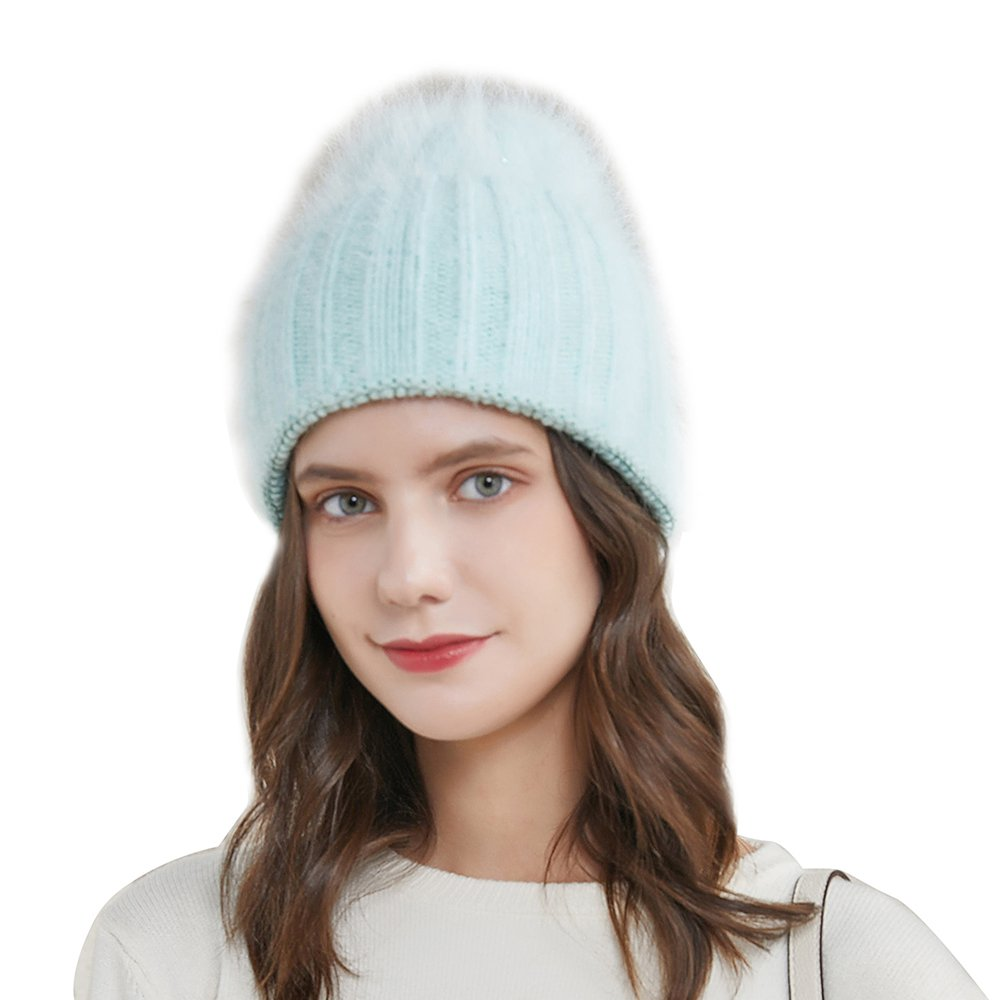 URSFUR Women's Knit Hat Warm Wide Sleeve Beanies Vertical Lines Elastic Skull Cap,Candy green