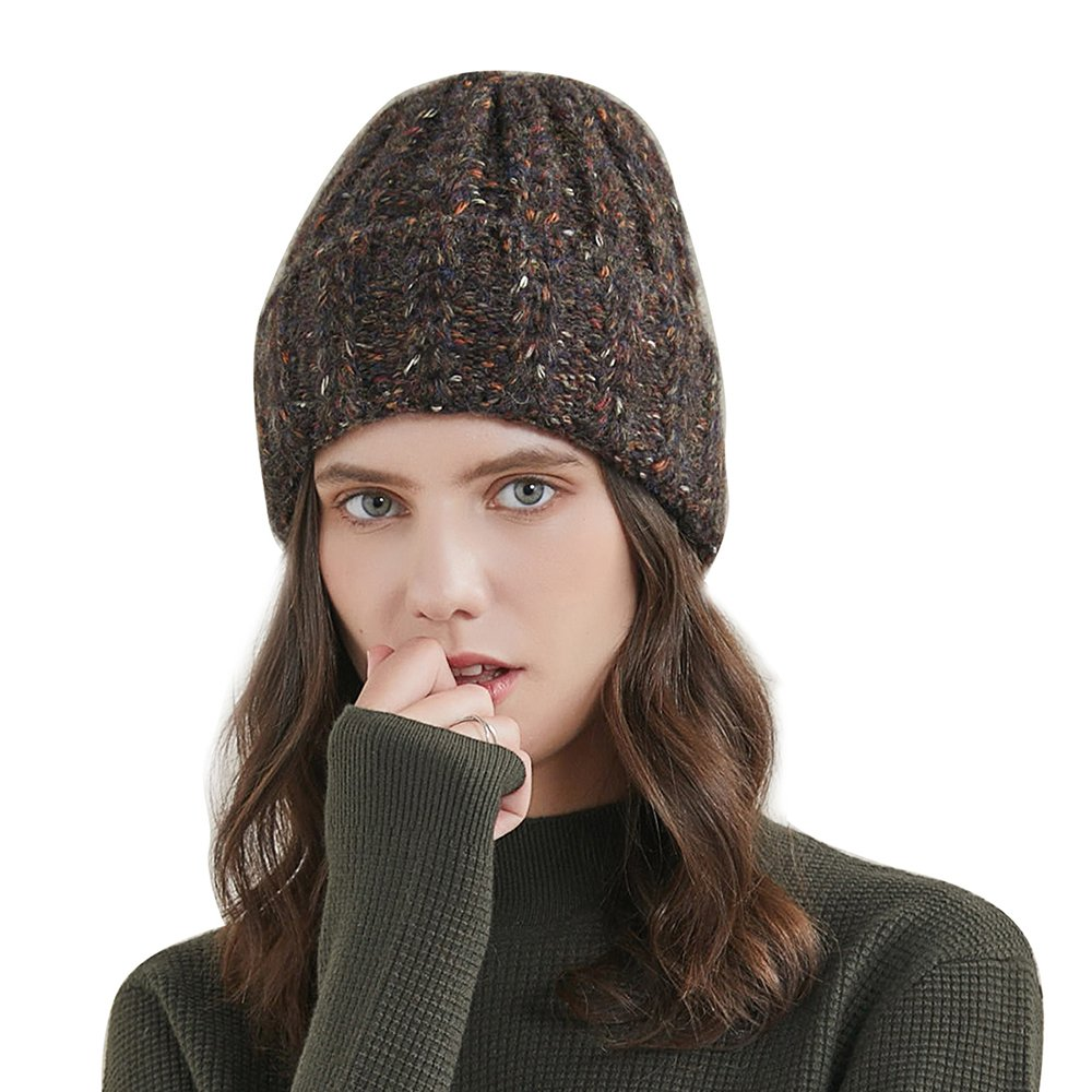 URSFUR Women's Knitted Hat Fold Stretch Chunky Soft Cable Beanie Cap, Color Mixing Black