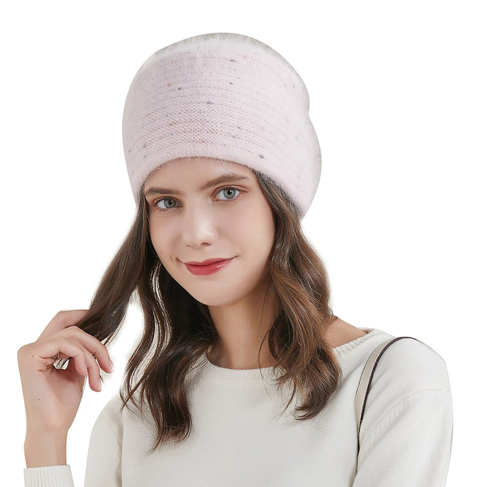 URSFUR Women's Fuzzy Knitted Beanie Slouch Cap with Rhinestone Double Layer Winter Hat, Pink