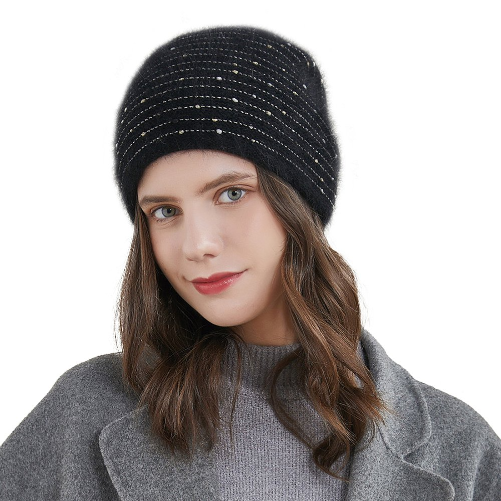 URSFUR Women's Knitted Beanie Slouch Cap with Rhinestone Double Layer Winter Hat, Black