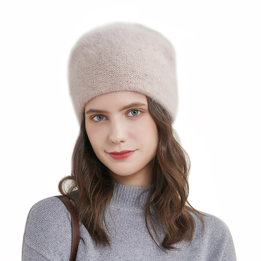 URSFUR Women's Fuzzy Knitted Beanie Slouch Cap with Rhinestone Double Layer Winter Hat, Light Brown