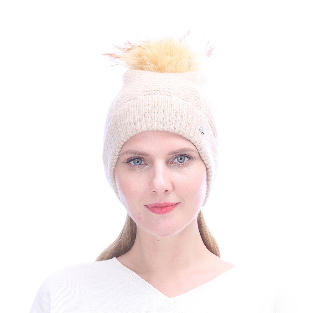 URSFUR Women's Knit Hat with Pompom, Warm Slouchy Beanie Cuff Fashion Cap,Beige