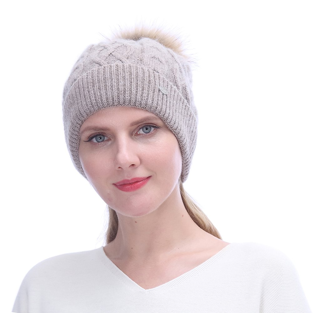 URSFUR Winter Knitted Cashmere Slouchy Beanies Hat with | Soft Cap for Lady ,Khaki