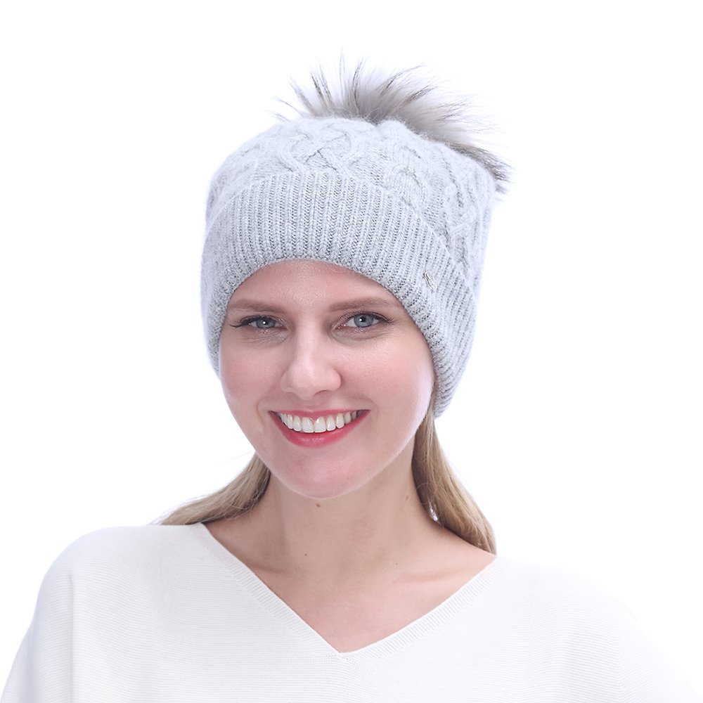 URSFUR Winter Knitted Cashmere Slouchy Beanies Hat with | Soft Cap for Lady ,Light gray