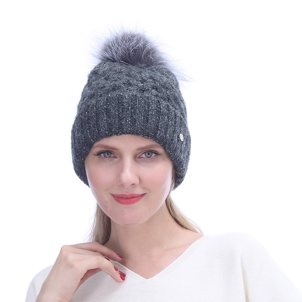 URSFUR Women Mohair Wool Knitted Cable Hat with Pompom | Slouchy Beanie Fashion Cap for Winter