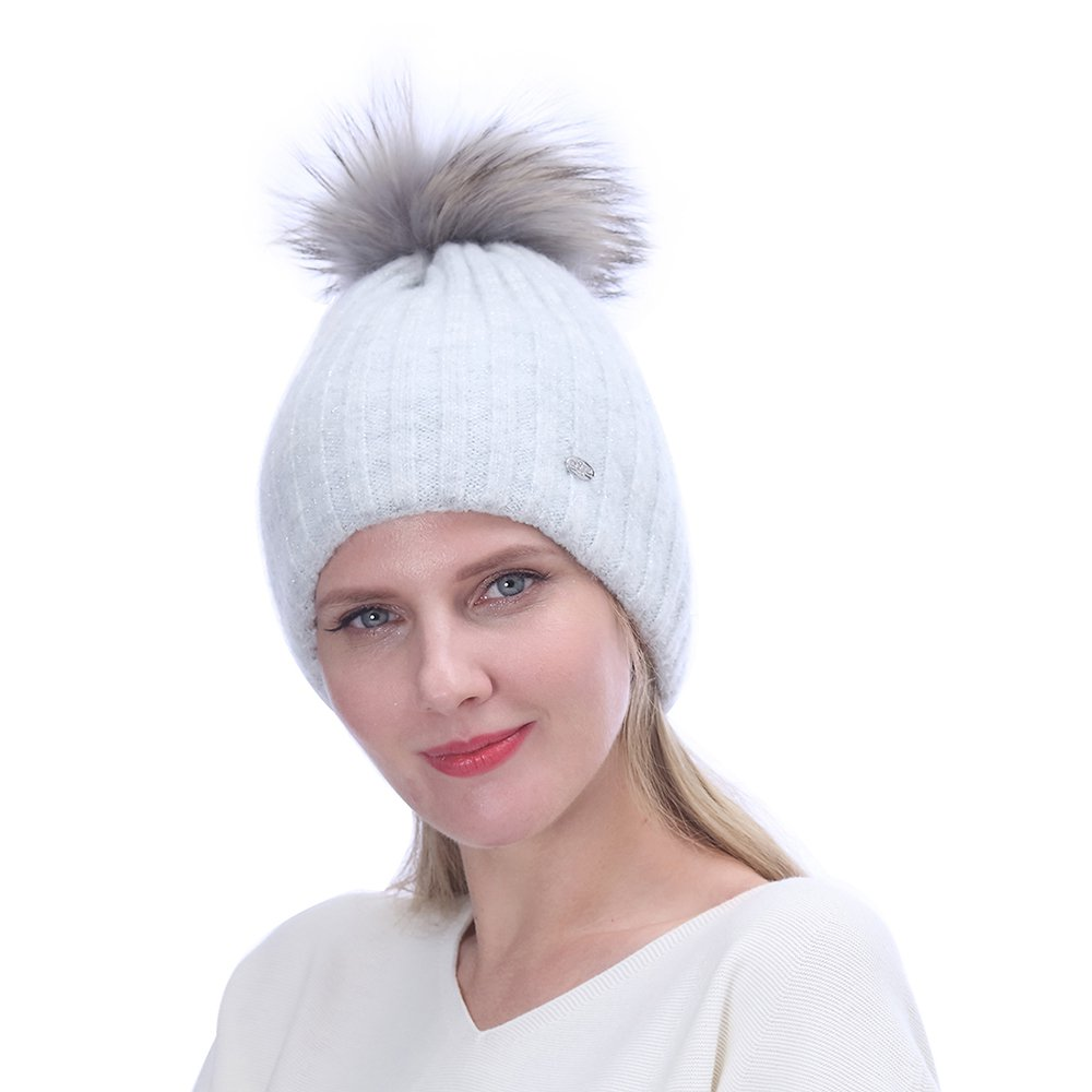 URSFUR Winter Hat Knitted Mohair Pompom Lady Beanie| Soft Lining Thick Warm Caps,Light Gray