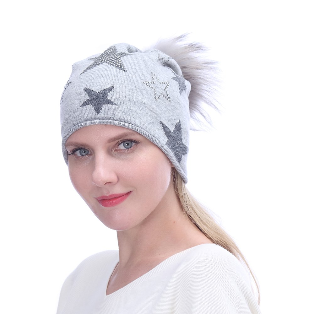 URSFUR Women's Cashmere Blend Cap with Fur Pompom,Lightweight Knitted  Slouchy Beanie Hat,Light Gray
