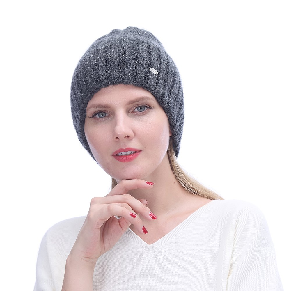 URSFUR Winter Knitted Cable Wool Hats for Women   Warm Double Lining Elastic Beanie Caps,Dark Gray