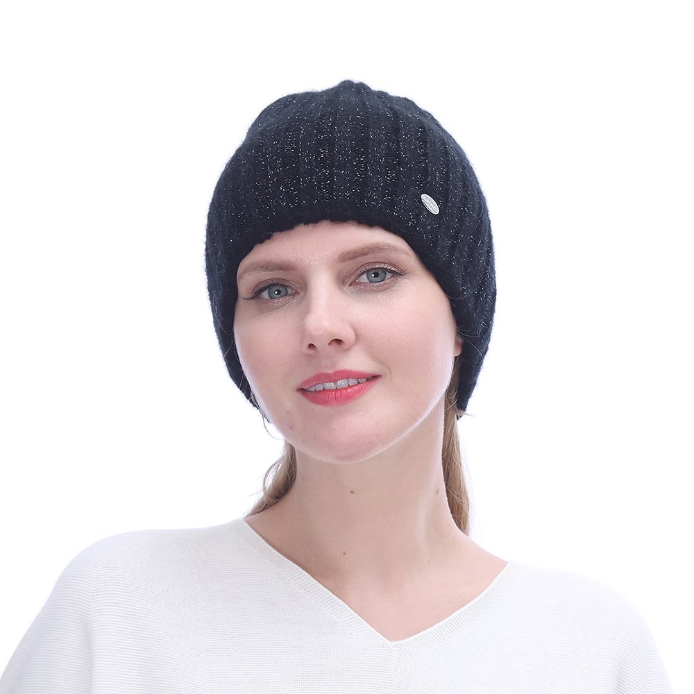 URSFUR Winter Knitted Cable Wool Hats for Women | Warm Double Lining Elastic Beanie Caps,Black