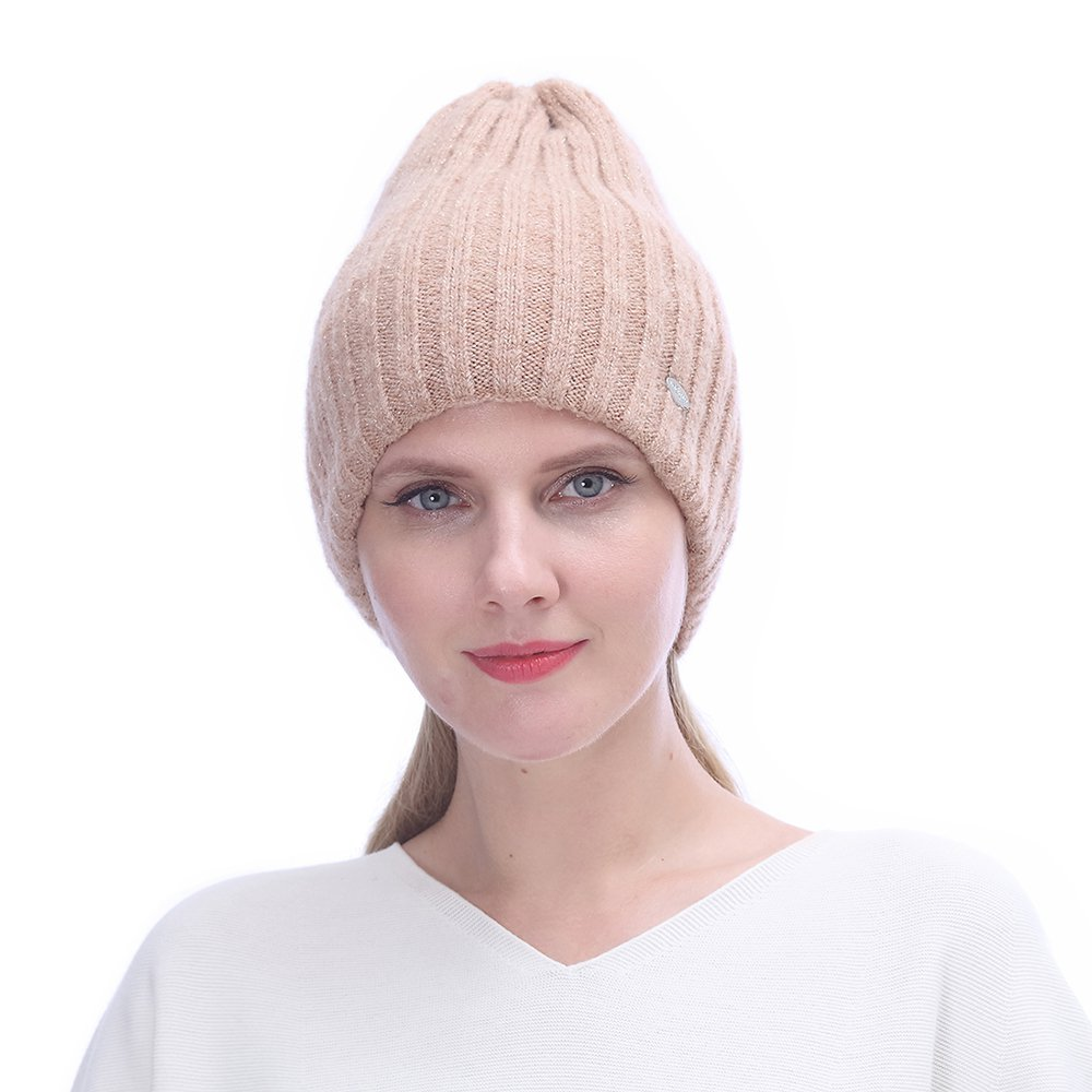 URSFUR Winter Knitted Cable Wool Hats for Women   Warm Double Lining Elastic Beanie Caps,Champagne