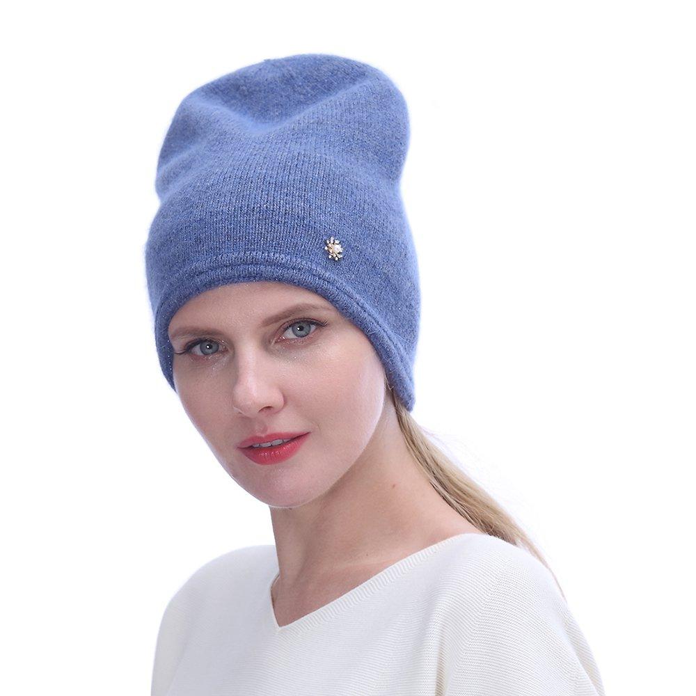 URSFUR Women's Knit Beanie Hat with Rhinestone Headwear- Slouchy Beanie Chunky Cap, Denim Blue
