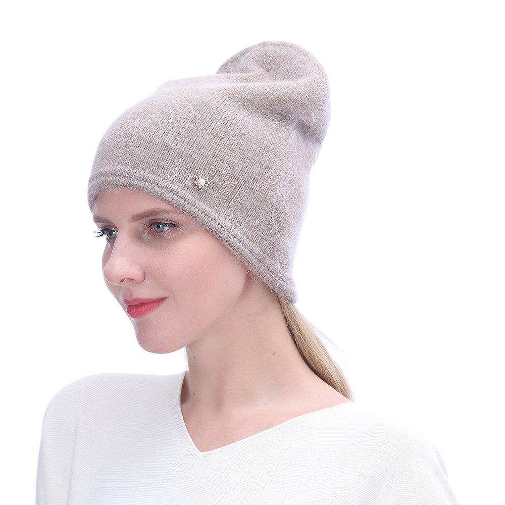 URSFUR Women's Knit Beanie Hat with Rhinestone Headwear- Slouchy Beanie Chunky Cap, Camel