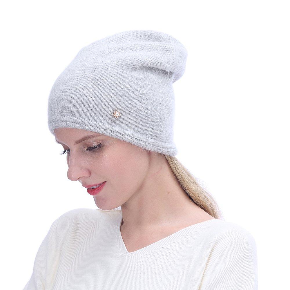 URSFUR Women's Knit Beanie Hat with Rhinestone Headwear- Slouchy Beanie Chunky Cap, Light Gray