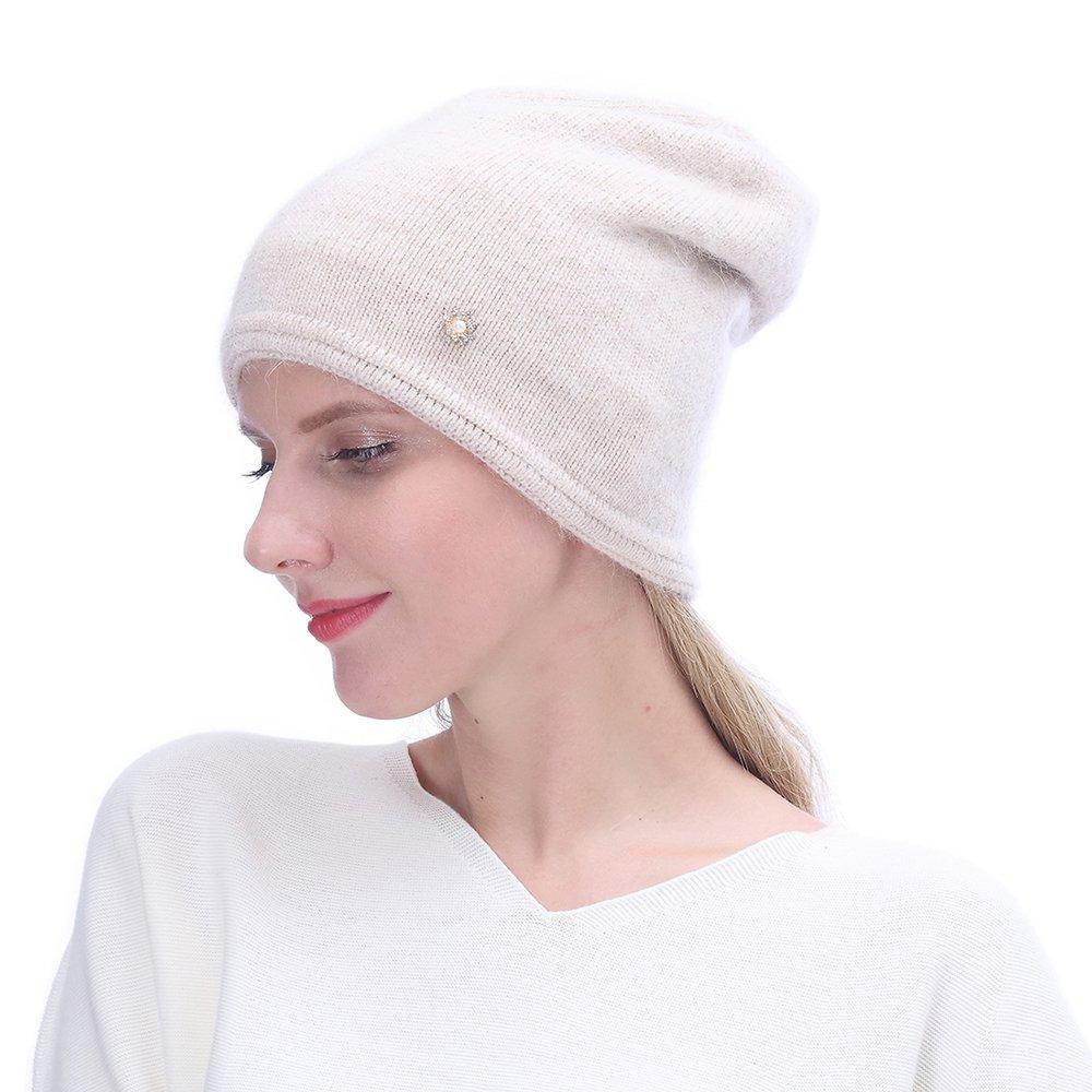 URSFUR Women's Knit Beanie Hat with Rhinestone Headwear- Slouchy Beanie Chunky Cap, Beige