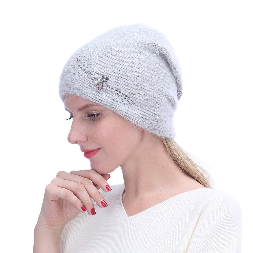 URSFUR Winter Knitted Beanie Hats for Women with Rhinestones-Russia Slouchy Baggy Cap,Light Grey