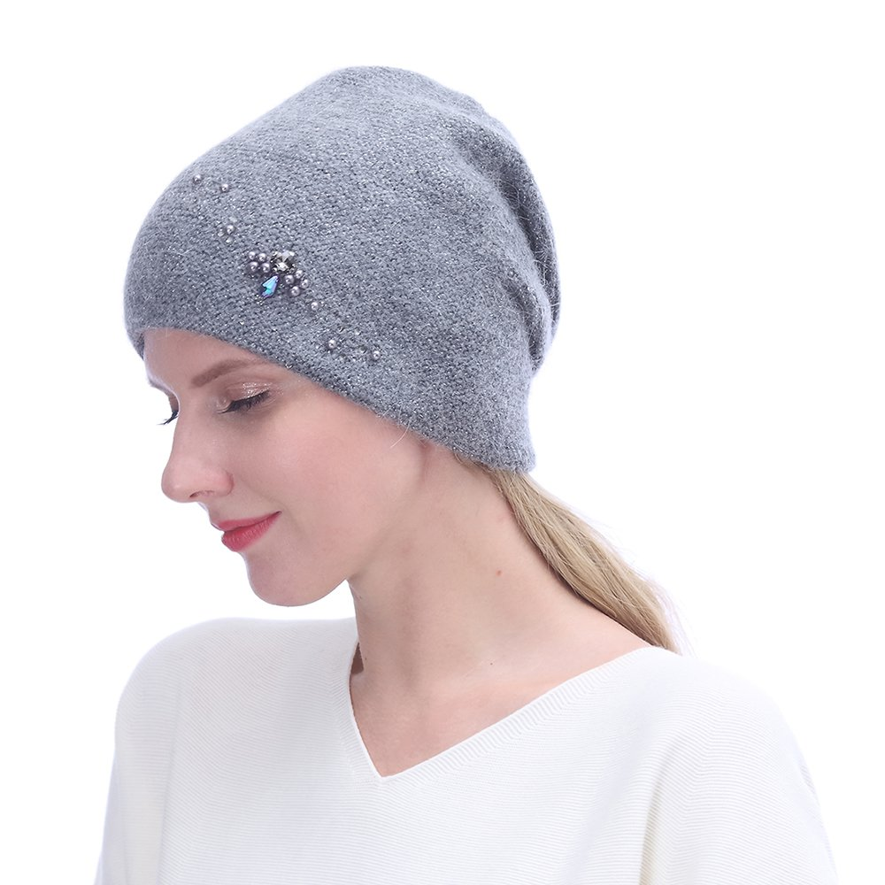 URSFUR Winter Knitted Beanie Hats for Women with Rhinestones-Russia Slouchy Baggy Cap,Dark Grey