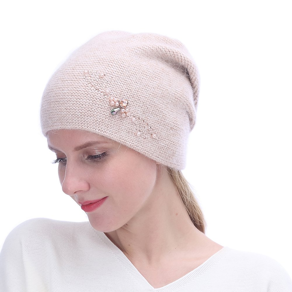 URSFUR Winter Knitted Beanie Hats for Women with Rhinestones-Russia Slouchy Baggy Cap,Pink