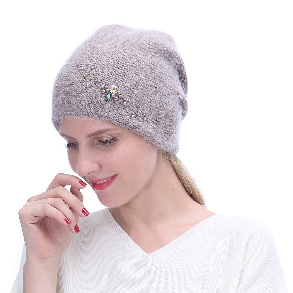 URSFUR Winter Knitted Beanie Hats for Women with Rhinestones-Russia Slouchy Baggy Cap,Camel Color