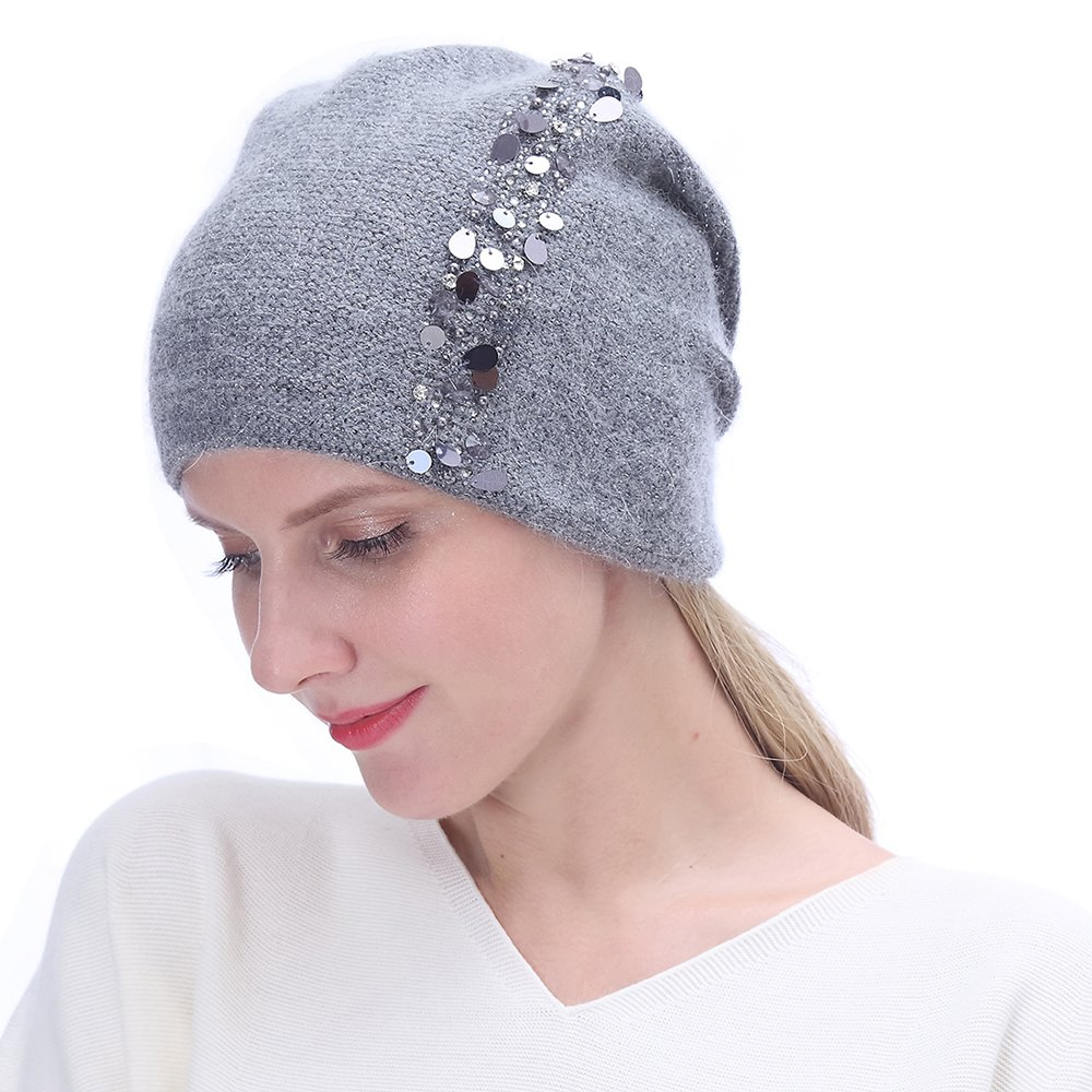URSFUR Winter Knitted for Women -Lightweight Slouchy Beanie with Bling Rhinestones-Dark Grey