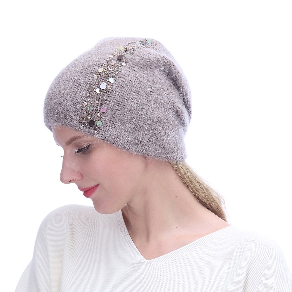 URSFUR Winter Knitted for Women -Lightweight Slouchy Beanie with Bling Rhinestones-Camel