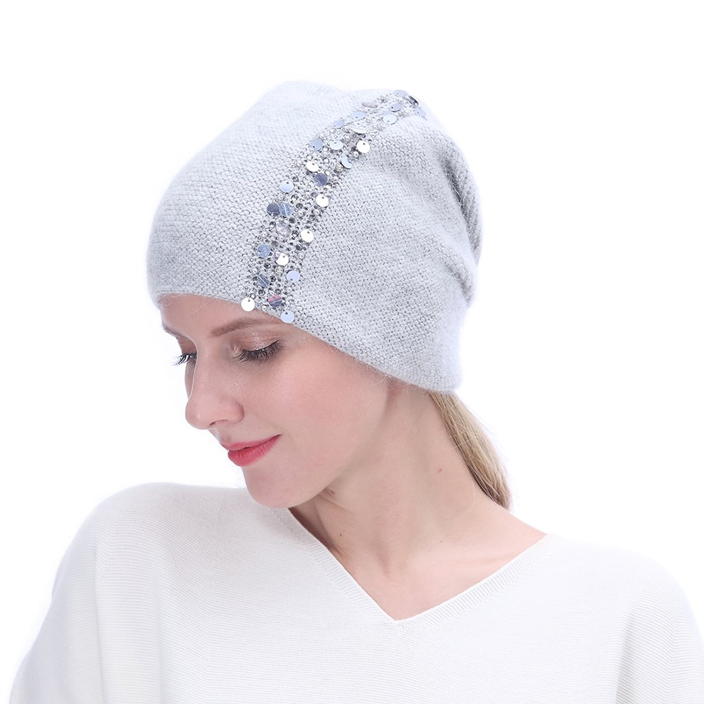 URSFUR Winter Knitted for Women -Lightweight Slouchy Beanie with Bling Rhinestones-Light Grey