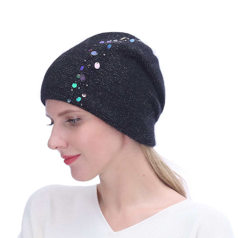 URSFUR Winter Knitted for Women -Lightweight Slouchy Beanie with Bling Rhinestones-Black