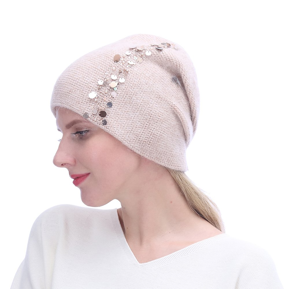 URSFUR Winter Knitted for Women -Lightweight Slouchy Beanie with Bling Rhinestones-Pink